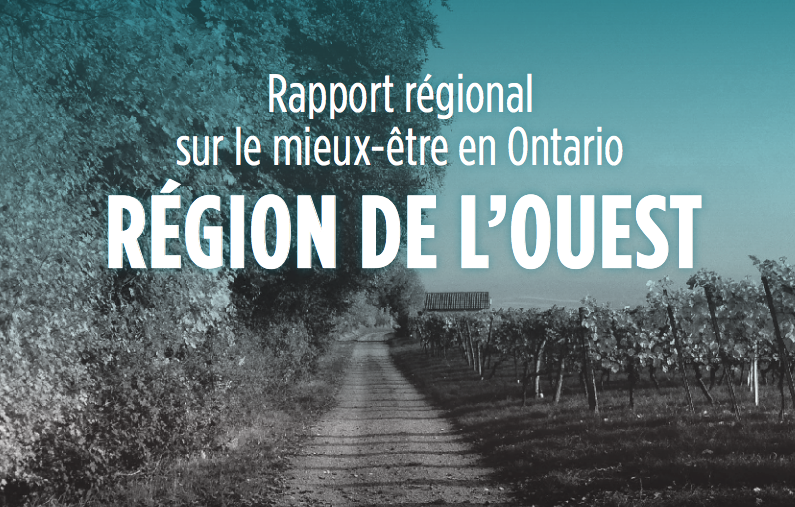 Region de l'ouest: Title text with photograph of trees and vineyard in the background