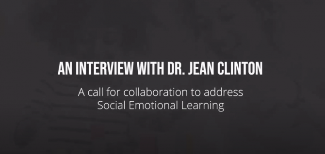 A black background with the text, An Interview with Dr. Jean Clinton