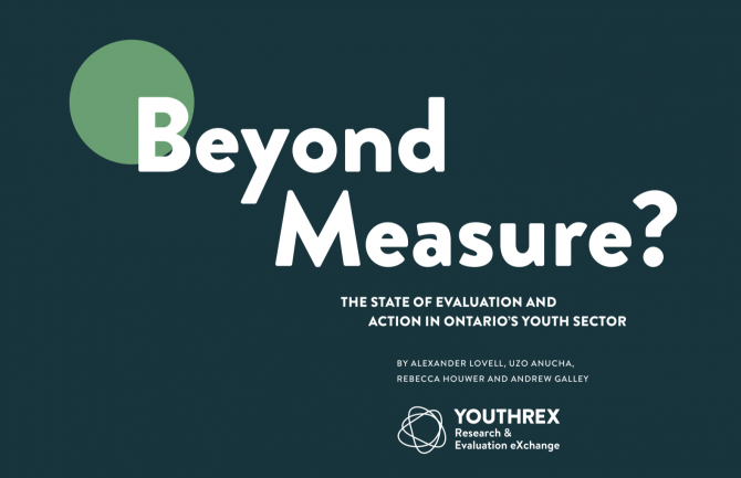 "A green background with a light green circle behind the text that reads ""Beyond Measure"""