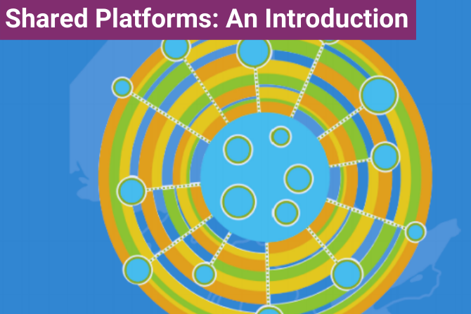 Stylized image of multiple circles, connected by lines to show a network