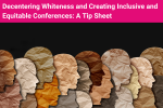 Photo of tissue paper silhouettes of outlines of faces of different colours